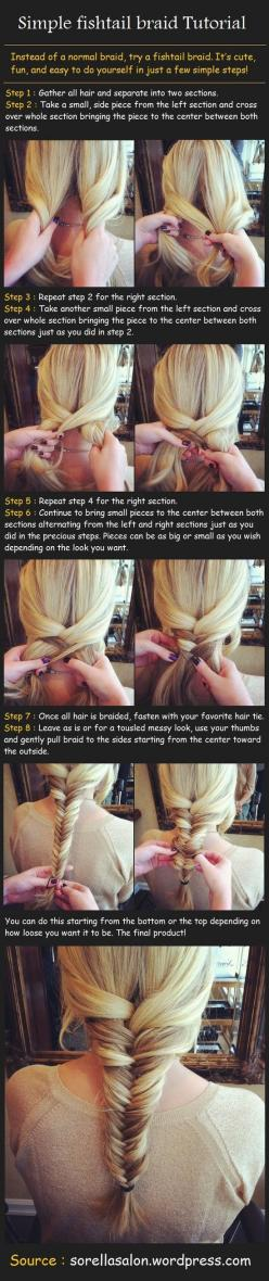 super easy way to do fishtail. My kid has the long hair for this, might need some practice. As if she'd sit still for it ...: Hairstyles, Hair Styles, Hairdos, Fishtailbraid, Hair Do, Fishtail Braid Tutorial, Fish Tail Braid, Fishtail Braids, Simple F