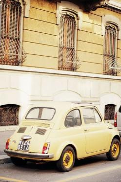 {take me away № 31 | gelato tasting in italy} by {this is glamorous}, via Flickr: Vintage, Cars, Fiat500 Yellow, Pale Yellow, Italy, Fiat500 Ridecolorfully, Fiat 500
