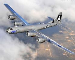 The B-29 Superfortress. A four engine US heavy bomber which flew first in combat on 5 June, 1944. It featured a pressurized cabin, electronic fire control and remote controlled guns. The B-29 Enola Gay dropped the atomic weapon Little Boy on Hiroshima on