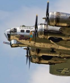 "The beautifully restored ""Sentimental Journey"" B-17 flies overhead at the Thunder Over Michigan Airshow.: Sentimental Journey, B17, Airplane, Flying Fortress, Aircraft, War Birds, B 17 Flying, Planes"