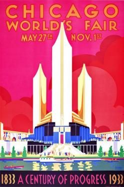 The Chicago World's Fair Century of Progress Exposition of 1933 was held to celebrate the city's centennial and was built around a theme of technological innovation. The fair's motto was: 'Science Finds, Industry Applies, Man Conforms.&#39