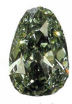 The Dresden Green Diamond is a 41 carat (8.2 g) natural green diamond, which probably originated in the Kollur mine in the state of Andhra Pradesh in India.The stone's unique green color is due to natural exposure to radioactive materials.  Today, the