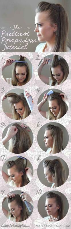 The Easiest, Prettiest Pompadour - just did this and it was easy and looks pretty with a few curls in the hair! Love it for a casual or dressed up night out!: Five Minute Hairstyles, Hair Ideas, Hair Tutorials, Hair Styles, Makeup, Pompadour Tutorial, Bea