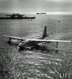 """The Hughes H-4 Hercules (""Spruce Goose"") made its only flight on November 2, 1947. Built from wood because of wartime restrictions, it was nicknamed the ""Spruce Goose"" by critics, despite being made almost entirely of birch. It is the largest flying boat"