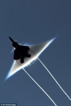 The image shows the effect of a sonic boom from below the aircraft: Sound Barrier, F 22 Raptor, Airplanes, F22, Aircraft, Jets, Photo, Sonic Boom, Military