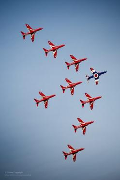 The Royal Air Force Aerobatic Team The Red Arrows perform with 9 Hawk aircraft for the 1st time since the tragic losses of 2011. They flew a practice display at RAF Cranwell on 28 February 2013, signalling their intent to return to the classic 9 aircraft