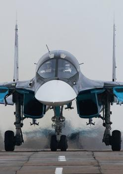 The Sukhoi Su-34 is a Russian twin-seat fighter-bomber.  It is intended to replace the Sukhoi Su-24. Based on the Su-27 Flanker, it is intended for high-precision strikes, including strikes with nuclear Su-34 (Su-32) Fullback Fighter Bomber.  First flight