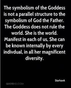 The symbolism of the Goddess is not a parallel structure to the symbolism of God the Father. The Goddess does not rule the world. Manifest in each of us, She can be known internally by every individual, in all her magnificent glory. - Starhawk: Things Mag
