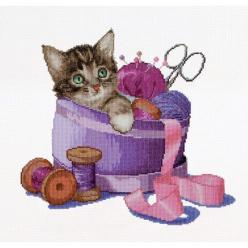 Thea Gouverneur counted-cross-stitch Kit Sewing Basket Kitten On Aida: Cross Stitch Kits, 204, Markisa81, Counted Cross Stitches, Counted Cross Stitch Kit, Crossstitch, Gallery Ru, Watches