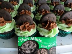 THIN MINT CUPCAKES       Now, these cupcakes were made from scratch. Don't let that scare you away. It's a Martha Stewart recipe and it's all made in one bowl. It was almost as easy as whipping up a boxed mix. If you want you could easily make these with