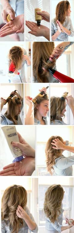 This is a great tutorial for when you want those loose but bouncy curls. There are many ways to achieve this look, detangle hair using a wide tooth comb, working shine serum and hair in from ends to the nape of your neck. Blow dry hair and separate into s