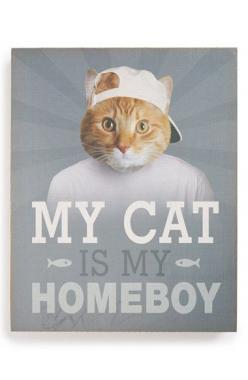 This is adorable!  LUCIUS DESIGNS 'My Cat Is My Homeboy' Wall Art available at #Nordstrom: Wall Art, Decor Wall, Lucius Designs, Cat Wall, Crazy Cat, Home Decor, Cat Crazy