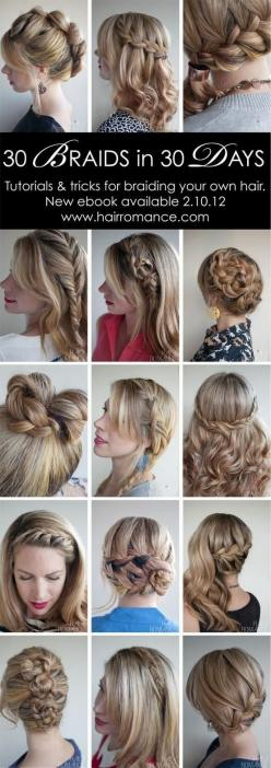 This will be my goal one of these months.. A different braid every day.: Hairstyles, Hairdos, Hair Styles, 30 Braids, 30 Days, Hair Do, Updo