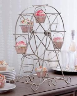 This would be so fun for carnival-themed anything: Ferriswheels, Wheel Cupcake, Cupcake Holders, Cupcake Ferris, Cupcakes, Ferris Wheels, Party Ideas