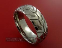 Tire Tread Styled Titanium Ring. Manly.  This should have been my sons wedding band--he's been a car guy since birth: Titanium Rings, Wedding Ideas, Tread Styled, Titanium Carved, Wedding Bands, Tire Tread, Tread Ring, Styled Titanium