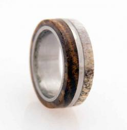 Titanium and Deer Antler Ring, $189 | 34 Unconventional Wedding Band Options For Men: Wedding Ring, Titanium Rings, Deer Antlers, Wood Bocote, Wedding Bands, Antler Band, Antler Ring, Bocote Deer