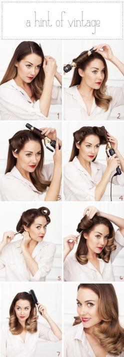 TOOLS:    -1″ barrell curling iron    -large setting clips    -flat/paddle brush-light    -medium hold hairspray    INSTRUCTIONS:    1) Find your side part. Either side will do.    2, 3, 4 & 5) You're going to curl ALL of your hair inward toward your