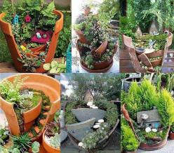 Top 30 Stunning Low-Budget DIY Garden Pots and Containers. Great idea for all those broken pots.: Fairygardens, Craft, Garden Ideas, Broken Pots, Flower Pot, Fairy Gardens, Gardening, Fairies Garden, Diy