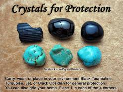 Top Recommended Crystals: Black Tourmaline, Turquoise, Jet, or Black Obsidian.  Additional Crystal Recommendations: Carnelian, Red Jasper, Malachite, Sardonyx, Labradorite, Lapis Lazuli, Pyrite, Amber, Chiastolite, Smoky Quartz, Tiger's Eye. Carry, we