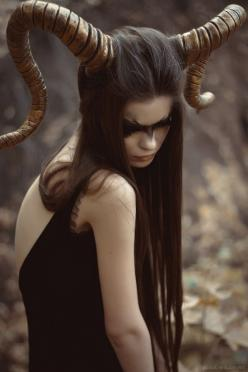 tumblr: Dear Companion - I want to do *this* for Halloween. Never underestimate a simple costume with fantastic makeup.: Veda Wildfire, Horns, Inspiration, Art, Dark, Costume Idea, Photography, Halloween