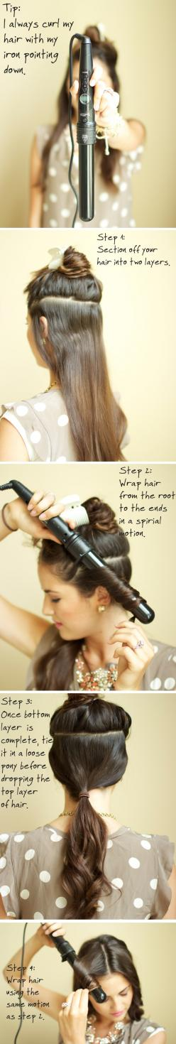 Tutorial: Get curls with a wand. Shelli I hope you see this! I pinned it for you <3: Hair Curling Technique, Hair Hack, Easy Hair Tutorial, Curling Irons, Curling Tips, Hair Styles, Curl Tutorial, Curling Wand Hairstyle