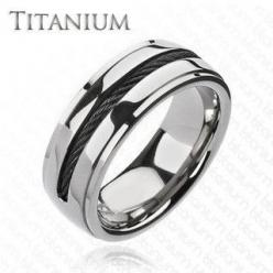 Twist My Arm - Twisted Black Center Wire Solid Titanium Comfort-Fit Ring. #BuyBlueSteel #Jewelry: Titanium Rings, Titanium Wedding Rings, Men'S, Band Rings, Arm, Jewelry Rings, Black, Men Wedding Rings