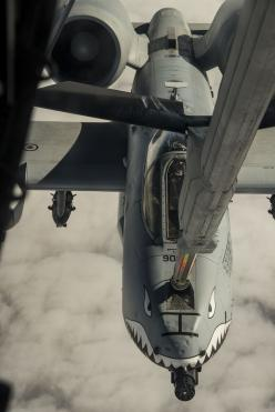 U.S. Air Force Capt. Andrew McCoy, 74th Fighter Squadron A-10C Thunderbolt II pilot, connects to a KC-10 Extender boom, Dec. 1, 2014, in the skies over Texas. McCoy was part of a formation that flew A-10Cs from Moody Air Force Base, Ga. to Fort Bliss, Tex