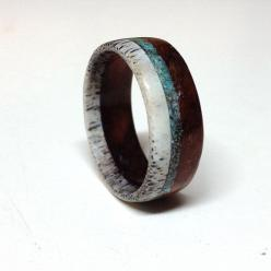 Unique men's wedding ring - Wood and Antler Ring Band with Turquoise Inlay - Etsy Shop:  StagHeadDesigns: Turquoise Inlay, Antlers, Weddings, Wedding Band, Turquoise Rings, Woods, Men Wedding Rings, Antler Ring