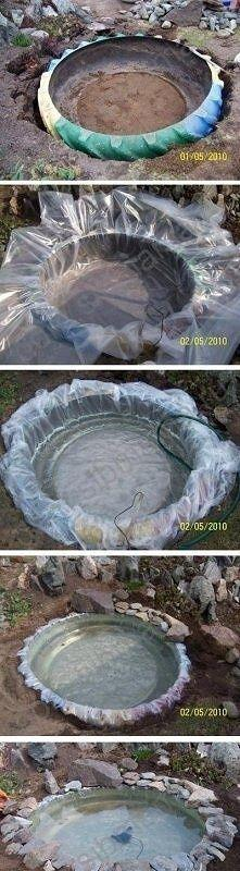 Use A Tire to Create A Small Backyard Pond | DIY Idea Time | Happy House and Garden Social Site: Water Feature, Pond Idea, Small Backyard, Tire Pond, Tractor Tire