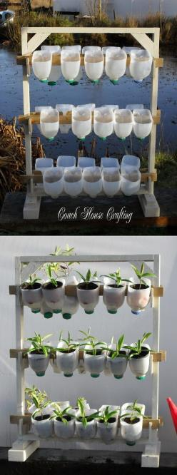 Vertical Garden Using Plastic Milk Bottles: Alternative Gardening, Practical Idea, Milk Jug Craft, Plastic Bottles, Garden Ideas, Plastic Milk Bottles, Vertical Gardens, Orchard