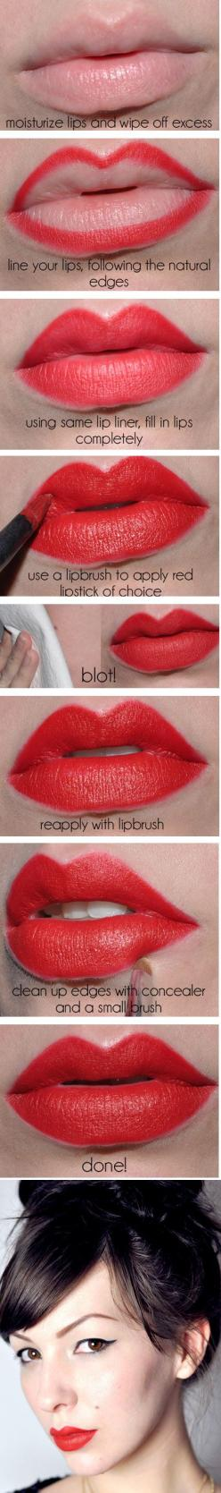 Vintage-Inspired Red Lips | 22 Beauty Tutorials For Dramatic Holiday Looks: Beauty Tutorials, Beauty Tips, Lip Tutorial, Makeup Tips, Makeup Ideas, Perfect Red Lips, Red Lipstick, Vintage Inspired, Bold Lips