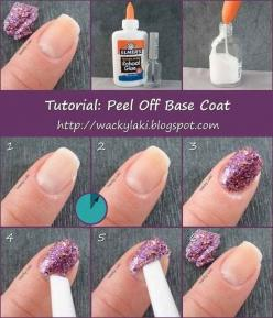 Want to wear glitter nail polish without going through the pain-in-the-ass removal process? | 27 DIY Beauty Hacks Every Girl Should Know: Idea, Nailpolish, Makeup, Glitter Nails, Glitter Nail Polish, Glitter Polish, Beauty, Base Coat, Nail Art