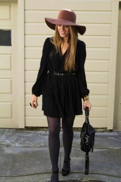wear your favorite frock with tights for an all-seasons-appropriate look: Street Style, Dresses, Fall Outfits, Black Dress, Fall Winter, Style Ideas