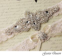 Wedding garter set, Ivory stretch lace Bridal Garter set, Heirloom Rhinestone and Crystal garters from VioGemini on Storenvy: Crystal Garters, Wedding Garters, Ivory Stretch, Lace Bridal, Wedding Ideas, Wedding Garter Set, Stretch Lace, Lace Garter, Brida