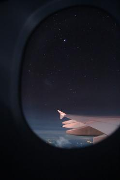 Where I'd like to be right now - alone on a plane, headed anywhere far away.  I love that anonymous feeling and knowing no one really knows where I am.  I miss this.: Adventure, Night Flight, Starry Night, Airplane View, Travel, Places, Night Sky, Pho