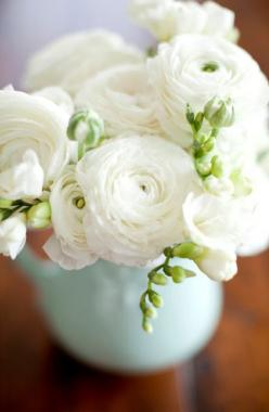 White ranunculus - These are the my favorite, so lovely!  This picture is the feel of my wedding :): White Flowers, White Ranunculus, Wedding Flowers, Bloom, Garden, Floral, Favorite Flower