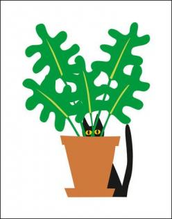 Who recognizes this?! Cat in Plant Print: Cat Art, Black Cats, Plants, Artist, Blackcats, Note Cards, Plant Note, Design