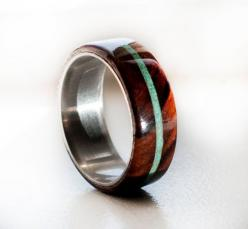 Wood Mens Wedding Band Ring Turquoise and wood by StagHeadDesigns, $210.00: Men Wedding Bands, Wedding Band Rings, Wedding Rings, Turquoise Rings, Silver Rings, Wood Mens
