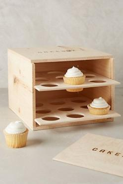 Wooden Pie Box Carrier - anthropologie.com... maybe a version with a lid on top with ledges of various depths to nest the trays on...: Wooden Pie, Diy Cake Box