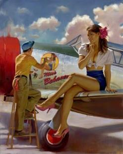 World war 2 plane with miss behavin girl on wing - Nose Art: Nose Art, Pinupgirls, Pinups, Pin Up Art, Pinup Girls, Noseart, David Uhl, Pin Ups, Pin Up Girls
