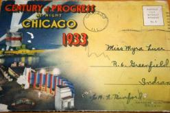 Worlds Fair - this is addressed to someone in Greenfield, IN which is where my Dad is from.: Dad, 1933 Chicago, 1933 34 Chicago A, Notable Suburbs, Chicago A Century, Kinda Town, Chicago Worlds, Fair