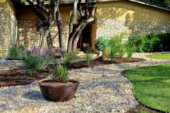 yard where no grass grows/alternatives | ... swatch of lawn and creates a pleasant sitting area in this front yard: Backyard Landscaping, Landscaping Ideas, Garden Ideas, Rock Landscaping, Front Yards, Landscape Ideas, Yard Ideas