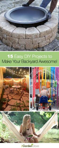 15 Easy DIY Projects to Make Your Backyard Awesome • A great roundup that has tons of Ideas and Tutorials for you!: Easy Fire Pit, Garden Hammock, Awesome Backyard, Backyard Idea, Backyard Decoration, Backyard Awesome, Diy Backyard Patio, Diy Garden