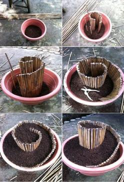 17 DIY Garden Ideas  this would work great as a walk way up to a fairy house!: Craft, Garden Ideas, Flower Pot, Spiral Garden, Outdoor, Fairy Gardens, Diy