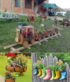 5 Cool Planter Ideas for Your Garden to Welcome Spring - http://www.amazinginteriordesign.com/5-creative-planter-ideas-garden-welcome-spring/: Craft, Garden Ideas, Yard, Outdoor, Gardens, Gardening, Log, Garden, Trains
