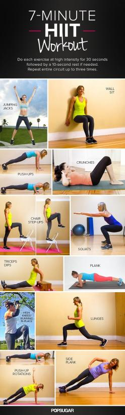 7 minutes HIIT workout, do every exercise 30 seconds with 2 to 3 session and interval rest for 10 seconds: 7 Minute Workout, Minute Hiit, Hit Workout, Hiit Workout, Work Outs, Fitness Exercise, Body Workout, Home Workout, Fitness Workout
