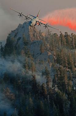 A C-130 Hercules releases fire retardant over the trees in the mountains above Palm Springs, California. The C-130 was activated to assist the community with wildfires. (Rex Features): C 130 Hercules, Palm Springs, Aircraft, Airlift Wing, Releases Fire, P