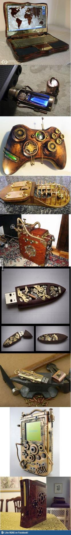 A whole slew of steampunk gadgets. | Follow here http://pinterest.com/cakespinyoface/geekery/ for even more Geekery-- art, tech and more!: Steampunk Electronics, Steampunk Stuff, Steampunk Technology, Steampunk Style, Steampunk Victorian, Steampunk Gadget