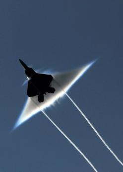 Air Force F-22 Raptor executes a supersonic flyby over the flight deck of the aircraft carrier USS John C. Stennis (CVN 74): Sound Barrier, F 22 Raptor, Airplanes, Aircraft, F22, Jets, Photo, Sonic Boom, Military