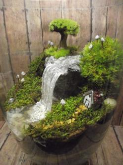 Amazing Huge Waterfall Terrarium with Raku Fired Miniature House, Tree, and glow in the dark Mushrooms - OOAK Handmade by Gypsy Raku: Big Ideas, Raku Fired, Fairy Terrarium, Cabbage Soup, Fairy Garden, Huge Waterfall